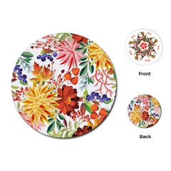 Autumn Flowers Pattern 1 Playing Cards (round)  by tarastyle
