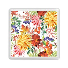 Autumn Flowers Pattern 1 Memory Card Reader (square)  by tarastyle