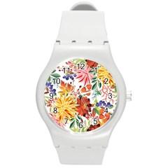 Autumn Flowers Pattern 1 Round Plastic Sport Watch (m) by tarastyle
