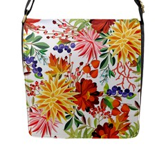 Autumn Flowers Pattern 1 Flap Messenger Bag (l)  by tarastyle
