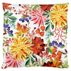 Autumn Flowers Pattern 1 Large Flano Cushion Case (one Side) by tarastyle