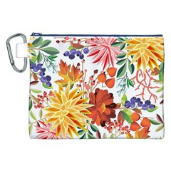 Autumn Flowers Pattern 1 Canvas Cosmetic Bag (xxl) by tarastyle