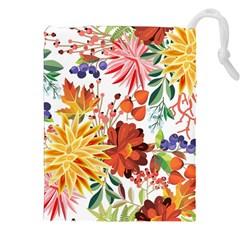 Autumn Flowers Pattern 1 Drawstring Pouches (xxl) by tarastyle