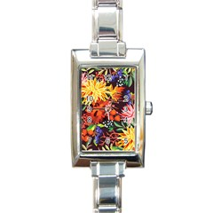 Autumn Flowers Pattern 2 Rectangle Italian Charm Watch by tarastyle