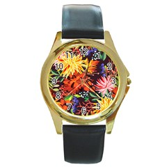 Autumn Flowers Pattern 2 Round Gold Metal Watch by tarastyle