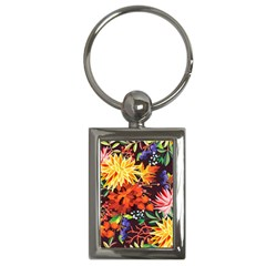 Autumn Flowers Pattern 2 Key Chains (rectangle)  by tarastyle