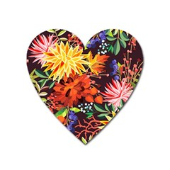 Autumn Flowers Pattern 2 Heart Magnet by tarastyle