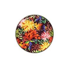 Autumn Flowers Pattern 2 Hat Clip Ball Marker (4 Pack) by tarastyle