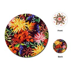 Autumn Flowers Pattern 2 Playing Cards (round)  by tarastyle