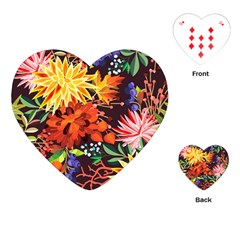 Autumn Flowers Pattern 2 Playing Cards (heart)  by tarastyle