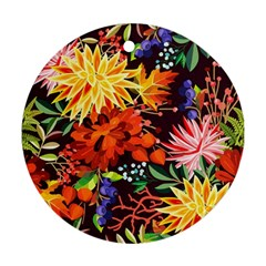 Autumn Flowers Pattern 2 Round Ornament (two Sides) by tarastyle