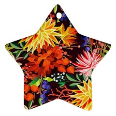 Autumn Flowers Pattern 2 Star Ornament (two Sides) by tarastyle