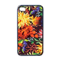 Autumn Flowers Pattern 2 Apple Iphone 4 Case (black) by tarastyle