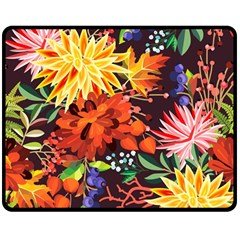 Autumn Flowers Pattern 2 Double Sided Fleece Blanket (medium)  by tarastyle