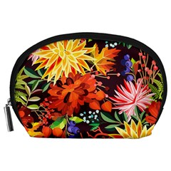 Autumn Flowers Pattern 2 Accessory Pouches (large)  by tarastyle