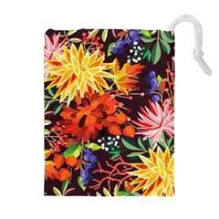 Autumn Flowers Pattern 2 Drawstring Pouches (extra Large) by tarastyle