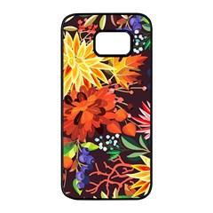 Autumn Flowers Pattern 2 Samsung Galaxy S7 Edge Black Seamless Case by tarastyle