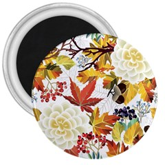 Autumn Flowers Pattern 3 3  Magnets by tarastyle