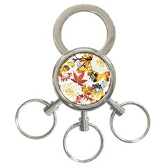 Autumn Flowers Pattern 3 3 Ring Key Chains by tarastyle