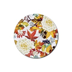 Autumn Flowers Pattern 3 Rubber Coaster (round)  by tarastyle