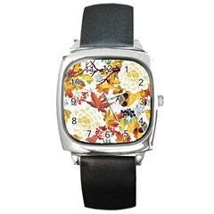 Autumn Flowers Pattern 3 Square Metal Watch by tarastyle