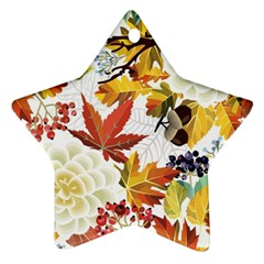 Autumn Flowers Pattern 3 Star Ornament (two Sides) by tarastyle