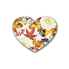 Autumn Flowers Pattern 3 Heart Coaster (4 Pack)  by tarastyle