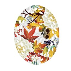Autumn Flowers Pattern 3 Oval Filigree Ornament (two Sides) by tarastyle