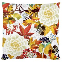 Autumn Flowers Pattern 3 Large Flano Cushion Case (one Side) by tarastyle