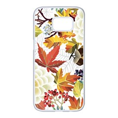 Autumn Flowers Pattern 3 Samsung Galaxy S7 Edge White Seamless Case by tarastyle