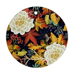 Autumn Flowers Pattern 4 Ornament (round) by tarastyle