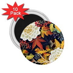 Autumn Flowers Pattern 4 2 25  Magnets (10 Pack)  by tarastyle