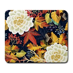 Autumn Flowers Pattern 4 Large Mousepads by tarastyle