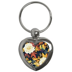 Autumn Flowers Pattern 4 Key Chains (heart)  by tarastyle