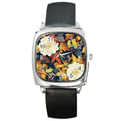 Autumn Flowers Pattern 4 Square Metal Watch by tarastyle