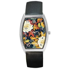 Autumn Flowers Pattern 4 Barrel Style Metal Watch by tarastyle