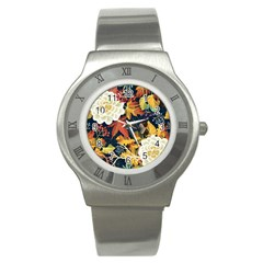 Autumn Flowers Pattern 4 Stainless Steel Watch by tarastyle