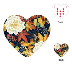 Autumn Flowers Pattern 4 Playing Cards (heart)  by tarastyle