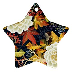 Autumn Flowers Pattern 4 Star Ornament (two Sides) by tarastyle