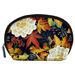 Autumn Flowers Pattern 4 Accessory Pouches (large)  by tarastyle