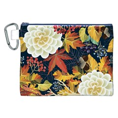 Autumn Flowers Pattern 4 Canvas Cosmetic Bag (xxl) by tarastyle