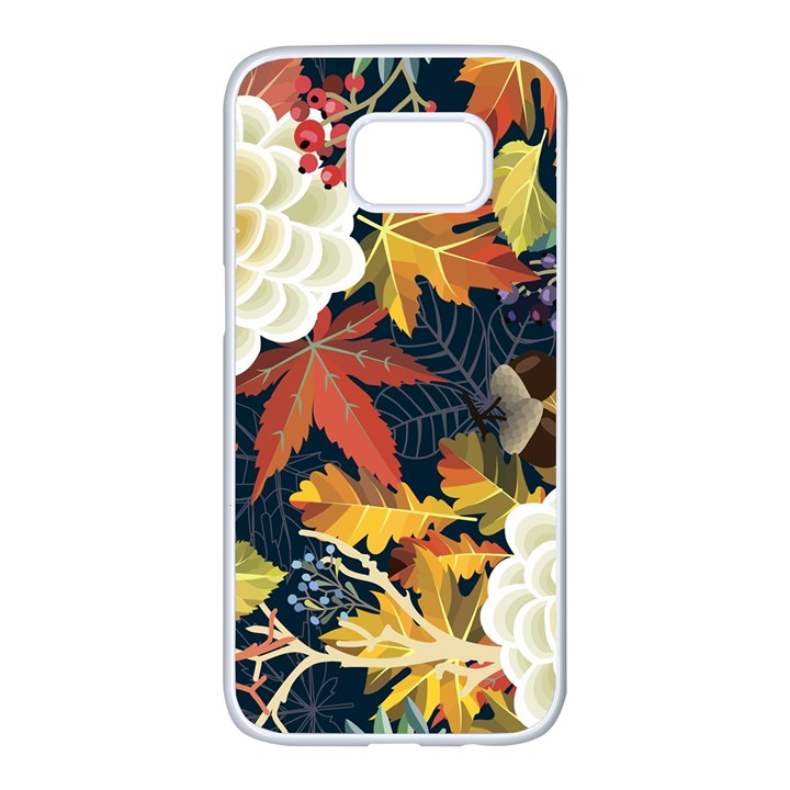 Autumn Flowers Pattern 4 Samsung Galaxy S7 edge White Seamless Case