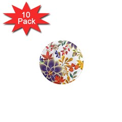 Autumn Flowers Pattern 5 1  Mini Magnet (10 Pack)  by tarastyle