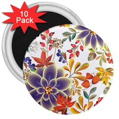 Autumn Flowers Pattern 5 3  Magnets (10 Pack)  by tarastyle