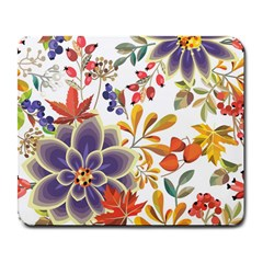 Autumn Flowers Pattern 5 Large Mousepads by tarastyle