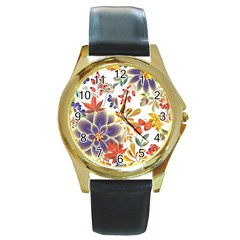 Autumn Flowers Pattern 5 Round Gold Metal Watch by tarastyle