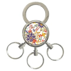 Autumn Flowers Pattern 5 3 Ring Key Chains by tarastyle