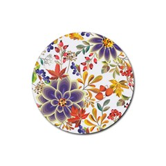 Autumn Flowers Pattern 5 Rubber Round Coaster (4 Pack)  by tarastyle