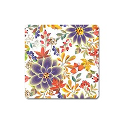 Autumn Flowers Pattern 5 Square Magnet by tarastyle