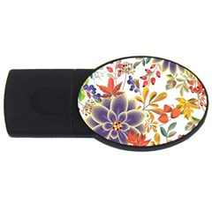 Autumn Flowers Pattern 5 Usb Flash Drive Oval (2 Gb) by tarastyle